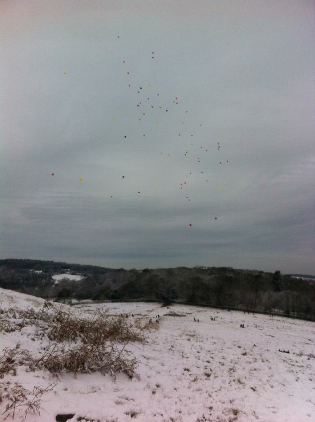 Balloons released from Old John, Bradgate (Photo: Hannah Bodsworth)