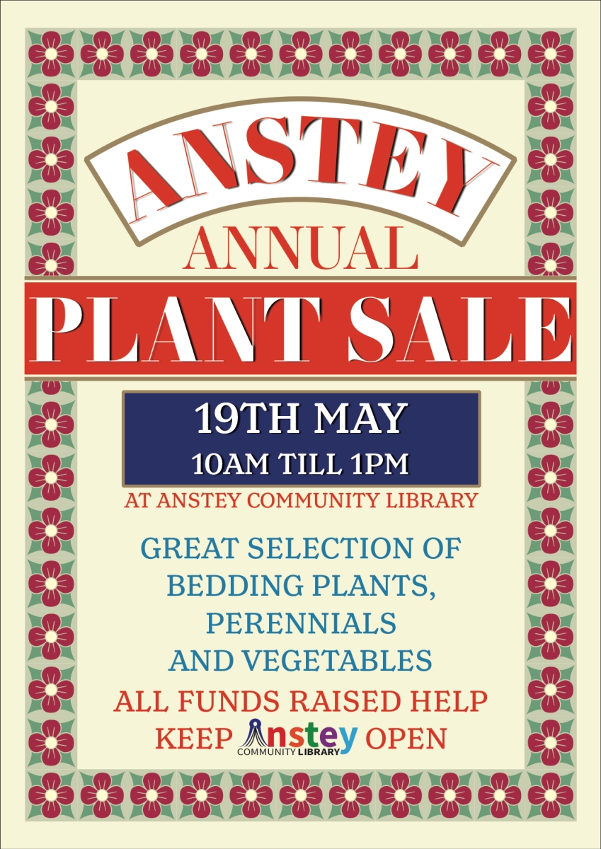 Anstey Annual Plant Sale returns this May 19th